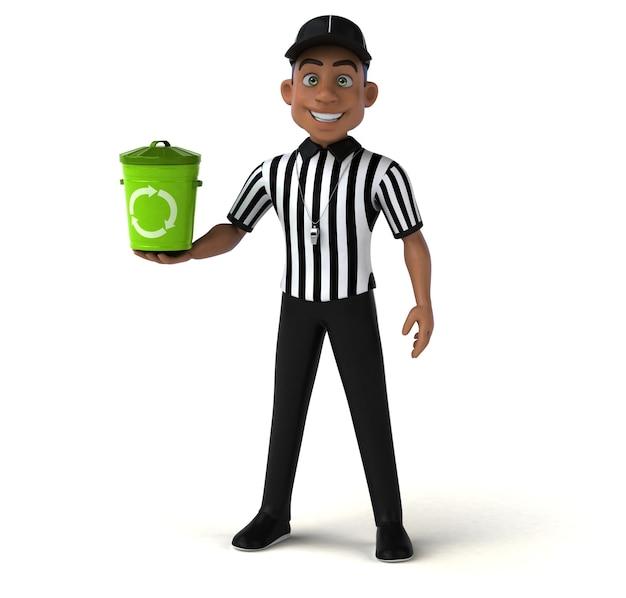 Divertente personaggio 3d di un arbitro americano
