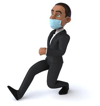 Divertente personaggio 3d di un uomo d'affari nero con una maschera