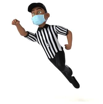 Divertente personaggio 3d di un arbitro nero con una maschera