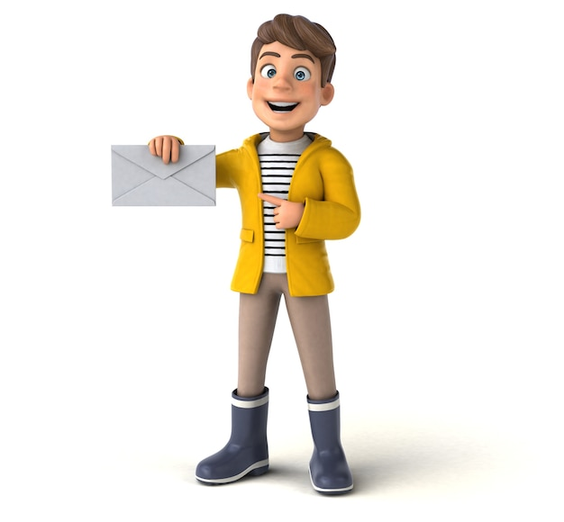Divertente personaggio 3d di un bambino cartone animato con l'abbigliamento da pioggia