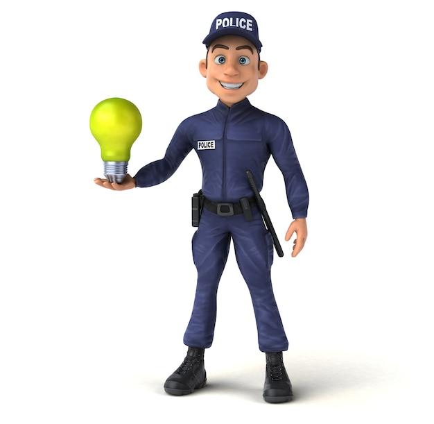 Divertente personaggio 3d di un ufficiale di polizia dei cartoni animati