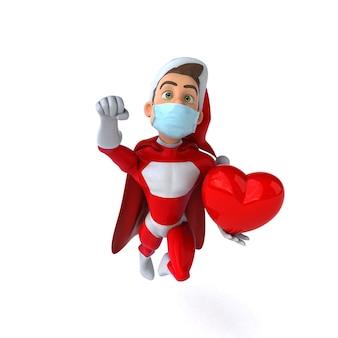 Divertente personaggio 3d di un cartone animato babbo natale con una maschera