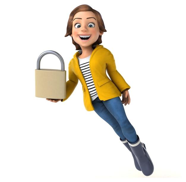 Divertente personaggio 3d di un'adolescente cartone animato