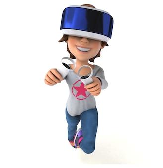 Divertente personaggio 3d di un'adolescente con un casco vr