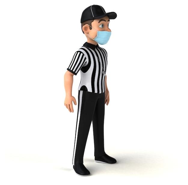 Divertente illustrazione 3d di un arbitro americano con una maschera