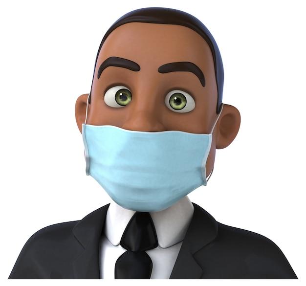 Divertente illustrazione 3d di un uomo d'affari nero con una maschera