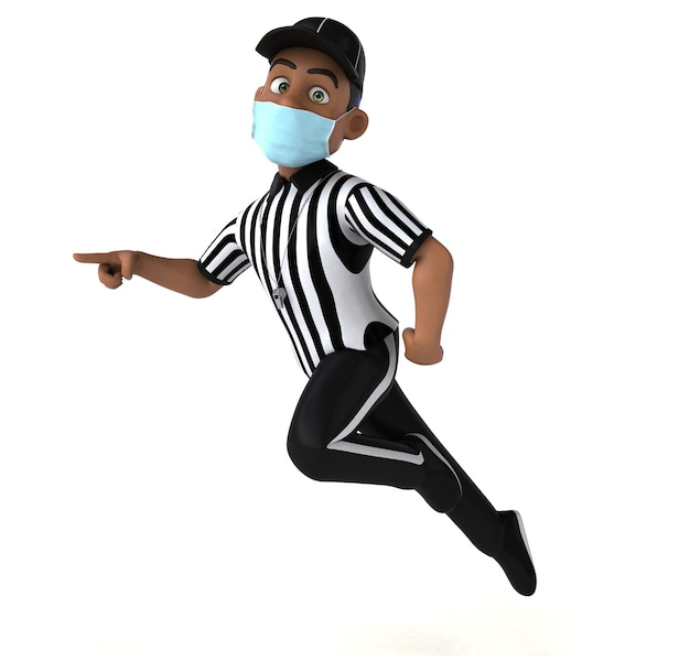 Divertente illustrazione 3d di un arbitro nero con una maschera