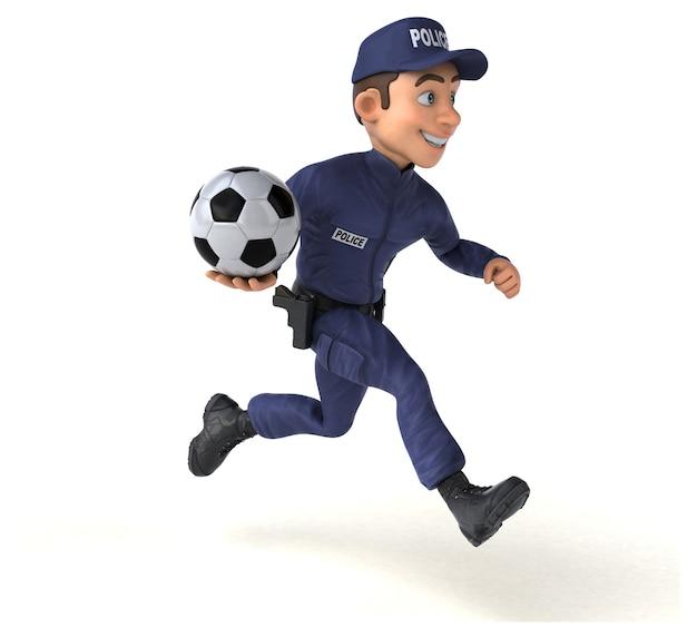 Divertente illustrazione 3d di un ufficiale di polizia dei cartoni animati