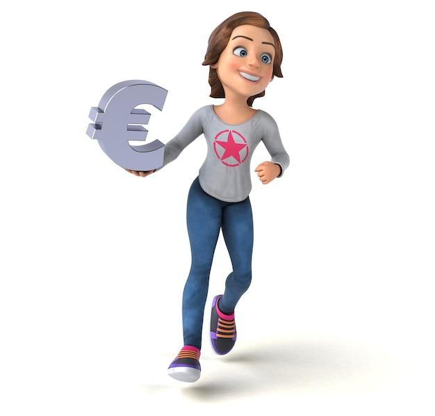 Divertente illustrazione 3d di una ragazza adolescente del fumetto
