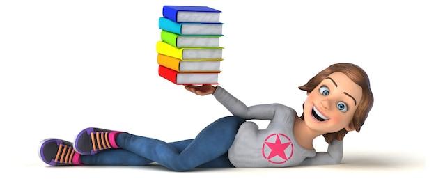 Divertente illustrazione 3d di un'adolescente cartone animato