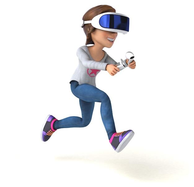 Divertente illustrazione 3d di un'adolescente con un visore vr