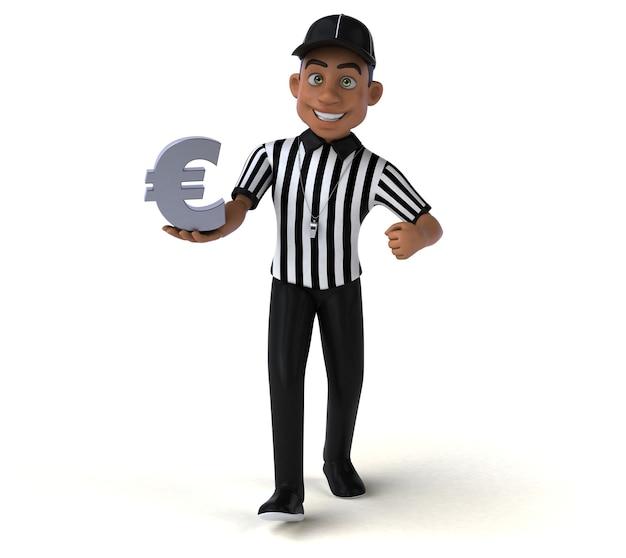 Divertente rendering 3d di un arbitro americano
