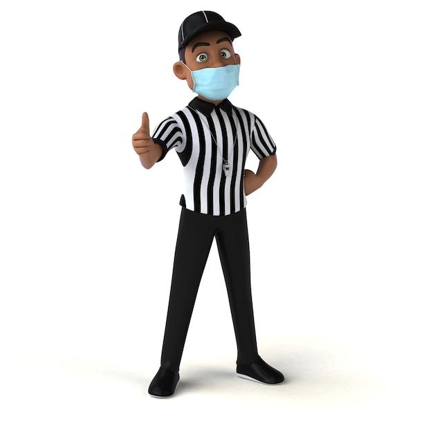Divertente rendering 3d di un arbitro nero con una maschera