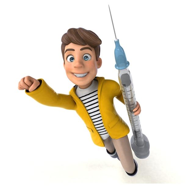 Divertente rendering 3d di un bambino cartone animato con l'attrezzatura per la pioggia