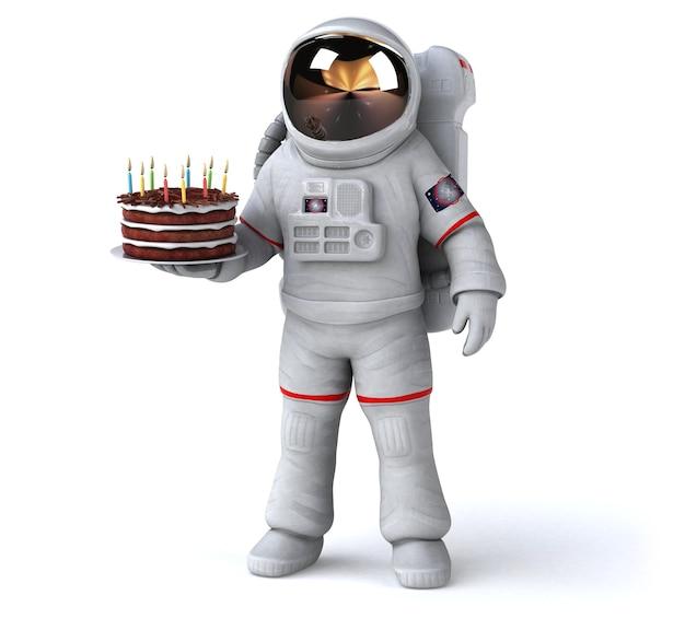 Astronauta divertente - illustrazione 3d