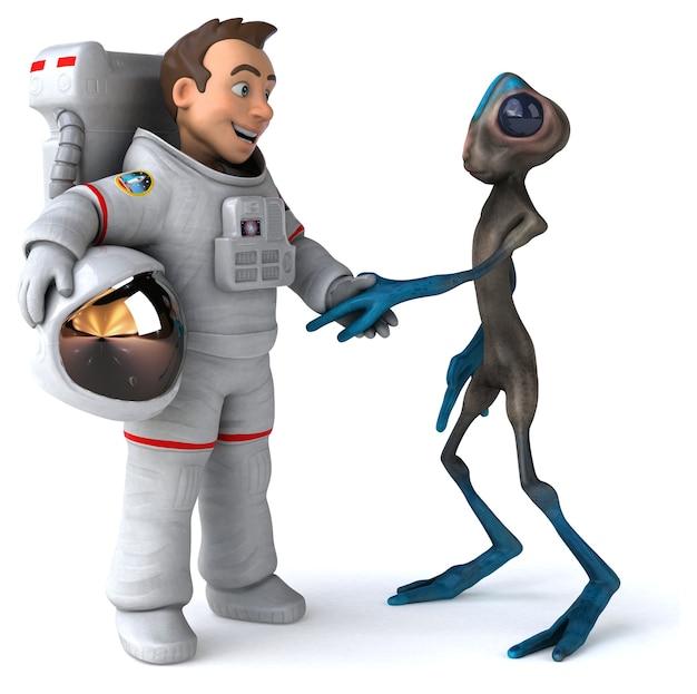 Divertente astronauta che incontra un alieno