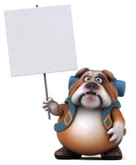 Divertente personaggio dei cartoni animati di bulldog zaino in spalla