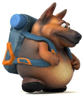 Divertente personaggio dei cartoni animati di cane pastore tedesco backpacker