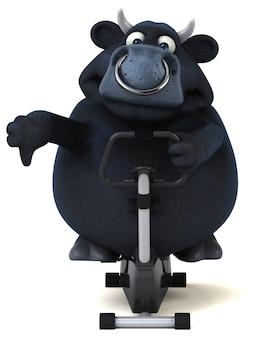 Divertente toro nero - 3d illustration