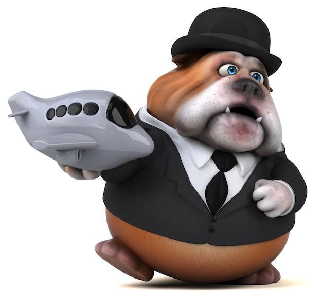 Bulldog divertente - illustrazione 3d