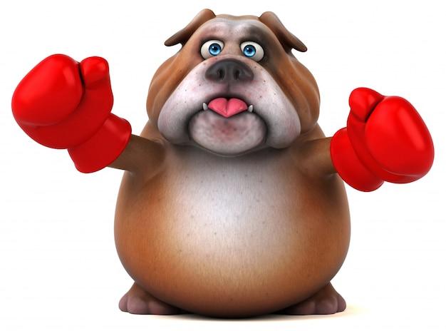 Illustrazione divertente del bulldog 3d