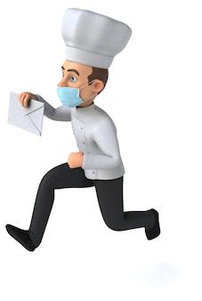 Divertente personaggio dei cartoni animati chef con una maschera
