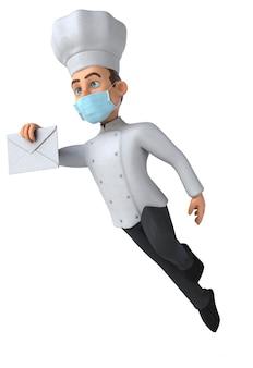 Carattere del cuoco unico del fumetto divertente con una maschera