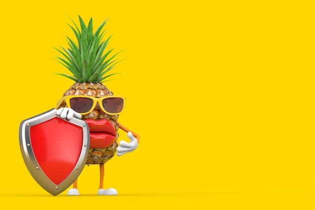 Divertente cartone animato moda hipster tagliare ananas persona personaggio mascotte con scudo di protezione in metallo rosso su sfondo giallo. rendering 3d