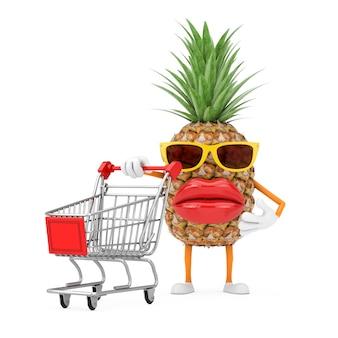 Divertente cartone animato moda hipster tagliare ananas persona personaggio mascotte con carrello carrello su sfondo bianco. rendering 3d
