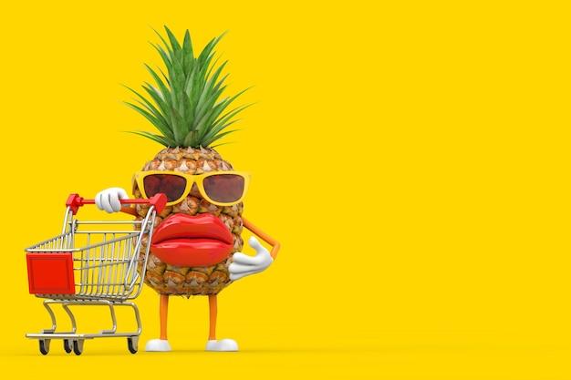 Divertente cartone animato moda hipster tagliare ananas persona personaggio mascotte con carrello carrello su sfondo giallo. rendering 3d