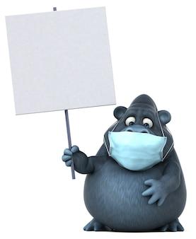 Gorilla divertente del fumetto con una maschera