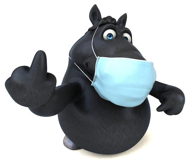 Cavallo divertente del fumetto con una maschera