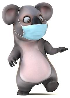 Koala divertente del fumetto con una maschera