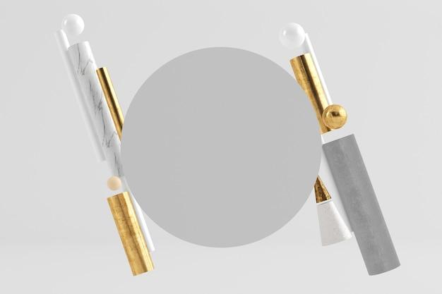 Fondo divertente del cerchio con il rendering 3d del fondo di forme geometriche