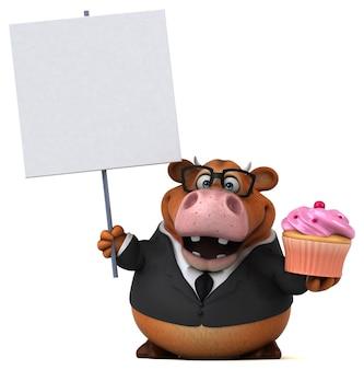 Mucca divertente - illustrazione 3d
