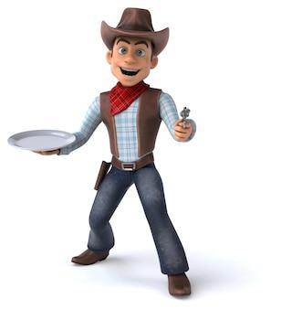 Illustrazione 3d del cowboy divertente