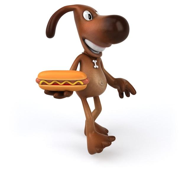 Cane divertente che tiene un hot dog in mano