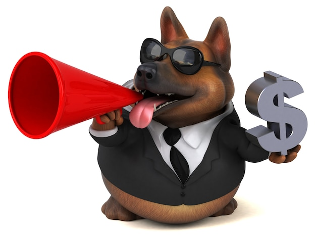Cane da pastore tedesco divertente - 3d illustration