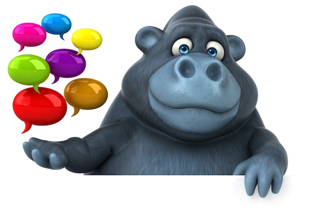 Fun gorilla - illustrazione 3d