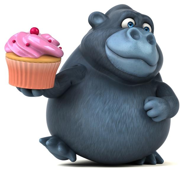 Fun gorilla - illustrazione 3d