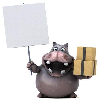 Illustrazione divertente dell'ippopotamo
