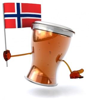 Divertente personaggio della birra illustrato con in mano la bandiera della norvegia