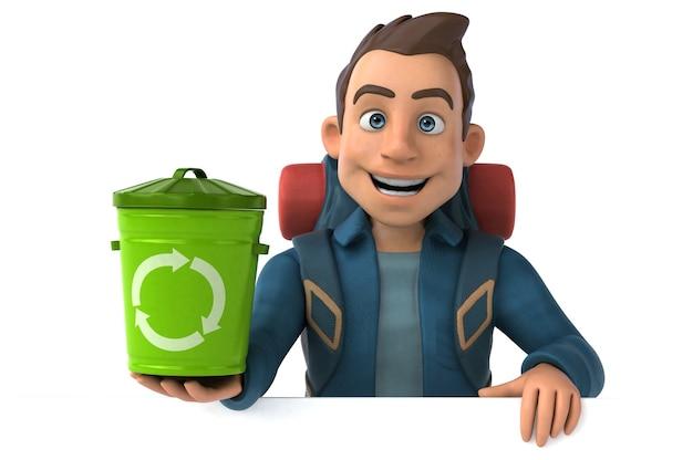 Divertente illustrazione di un backpacker cartone animato in 3d