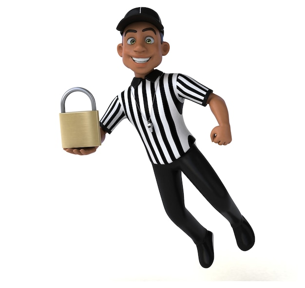 Illustrazione divertente di un arbitro americano