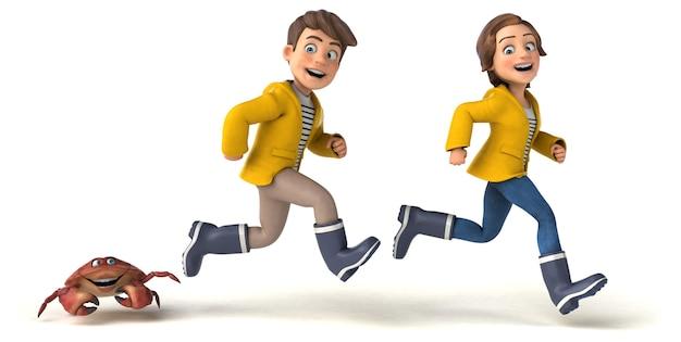 Illustrazione divertente dei bambini del fumetto con un granchio