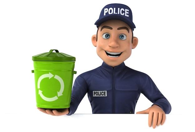 Illustrazione divertente di un ufficiale di polizia del fumetto