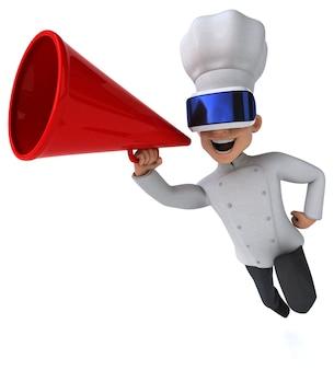 Illustrazione divertente di uno chef con un casco vr