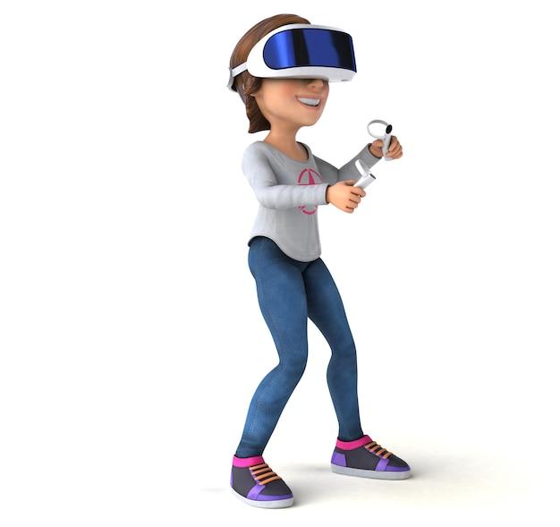 Illustrazione divertente di una ragazza adolescente con un casco vr