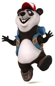 Divertente panda backpacker