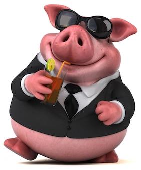 Illustrazione divertente del maiale 3d